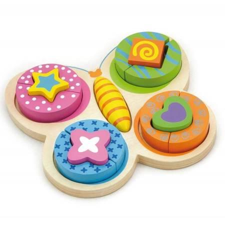 Drewniana Układanka Puzzle Motylek Viga Toys