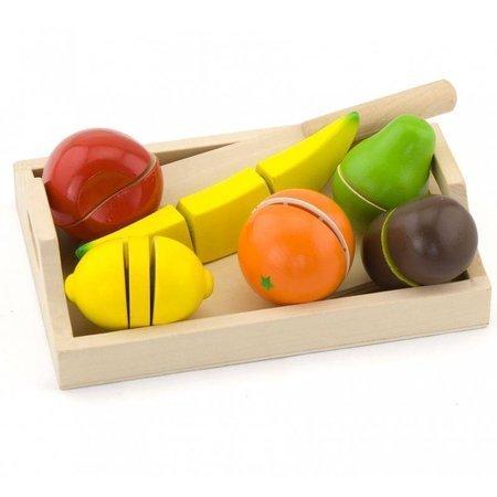 Drewniane Owoce do Krojenia Taca Nóż Viga Toys