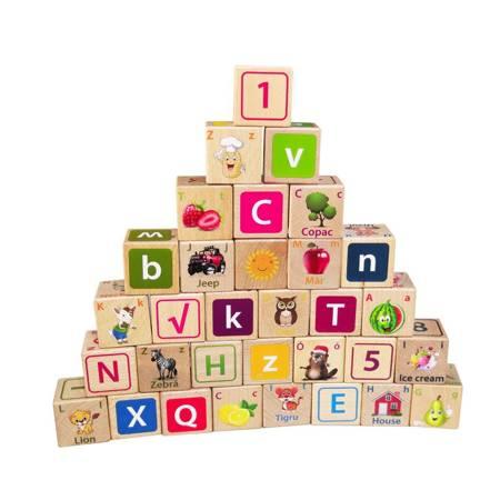 Drewniane klocki edukacyjne Literki Cyferki