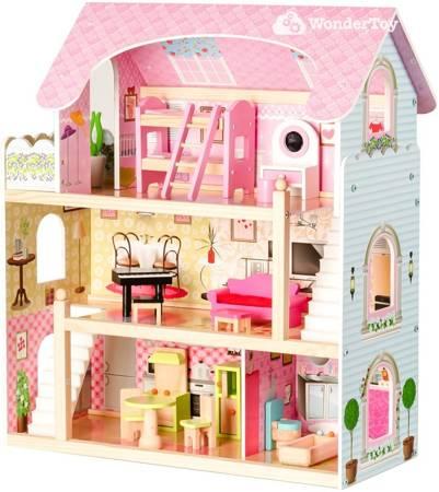 Drewniany Domek  dla lalek Karen + Komplet laleczek