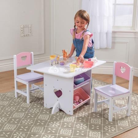 Drewniany Stół i 2 Krzesła Serduszko Heart Kidkraft 26913