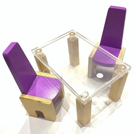Mebelki - Nowoczesny Stół i 2 krzesła dla Barbie do domku dla lalek Kidkraft