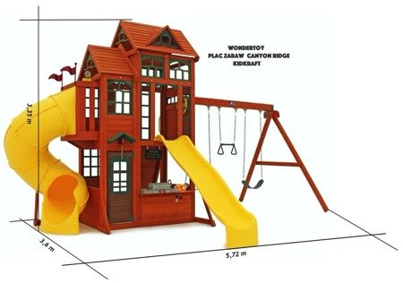 Mega Plac Zabaw KidKraft Canyon Ridge - Huśtawki, Domek, Zjeżdżalnia Rurowa