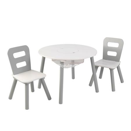 Okrągły Stolik i 2 Krzesła Szaro - Biały Kidkraft 26166