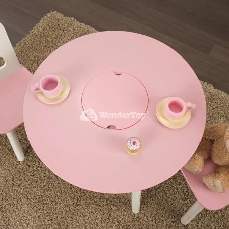 Okrągły stolik i 2 krzesełka Różowy Kidkraft