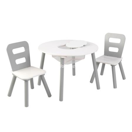 Okrągły stolik i 2 krzesła Szaro - Biały