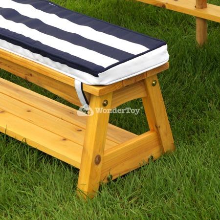 Stół i Ławki z Kolorowym Parasolem Table and Benches with Blue Umbrella KidKraft 00106