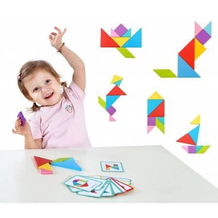 TOOKY TOY Drewniane Puzzle Tangram Układanka Magnetyczna